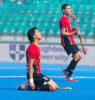 LUCKNOW (India) -   Junior World Cup hockey  U21 for men . EGYPT v CANADA  for the 15th/16th place.  Ahmed Elganaini (EGY) missed a chance to score. COPYRIGHT  KOEN SUYK