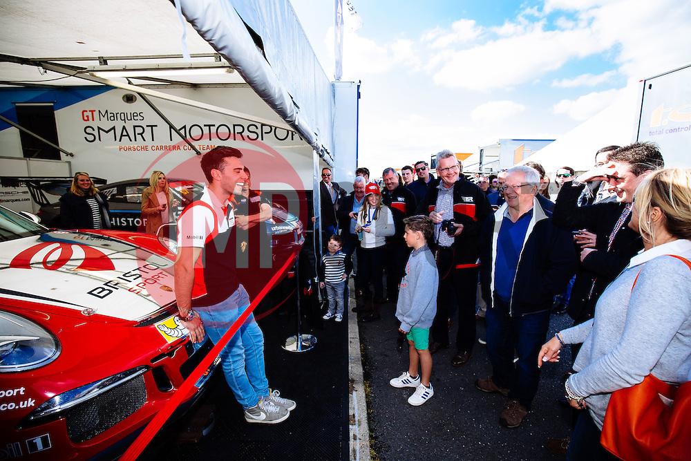 Dino Zamparelli entertains his sponsors   Bristol Sport Racing   #88 Porsche 911 GT3 Cup Car   Porsche Carrera Cup GB - Mandatory byline: Rogan Thomson/JMP - 07966 386802 - 27/09/2015 - MOTORSPORT - Silverstone Circuit - Towcester, England - BTCC Meeting Day 2.