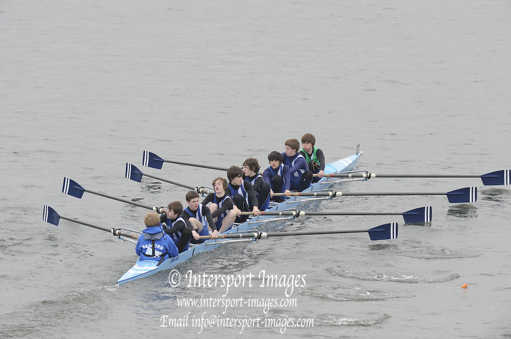 Chiswick. London.  J15 2nd 8+, Bedford, approach the start line as they compete in the 2011 Schools Head of the River Race, Mortlake to Putney, over the  Championship Course.Taken from Chiswick Bridge.  Thursday  17/03/2011 [Mandatory Credit, Peter Spurrier/Intersport-images]