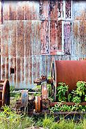 Rusty machinery and wall in Minas de Matahambre, Pinar del Rio, Cuba.