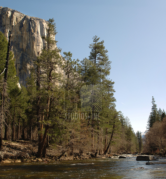 Merced River in Yosemite Valley with El Capitan on the left