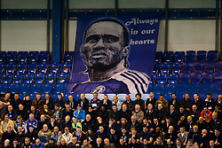 Chelsea supporters fly a banner in respect of their ex-player, Galatasaray Forward Didier Drogba (CIV) - Photo mandatory by-line: Rogan Thomson/JMP - 18/03/2014 - SPORT - FOOTBALL - Stamford Bridge, London - Chelsea v Galatasaray - UEFA Champions League Round of 16 Second leg.