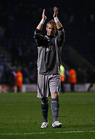 Photo: Steve Bond.<br />Leicester City v Cardiff City. Coca Cola Championship. 26/11/2007. Kasper Schmeichel applauds the band of travelling fans