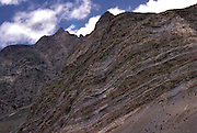 Sedimentary rock mountains hold vital clues to the study of the formation of the .Himalayas,Lahaul valley,Himachal Pradesh,India.