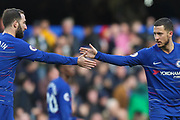 GOAL 1-1 Chelsea midfielder Eden Hazard (10) scores and celebrates with Chelsea striker Gonzalo Higuain (9) during the Premier League match between Chelsea and Wolverhampton Wanderers at Stamford Bridge, London, England on 10 March 2019.