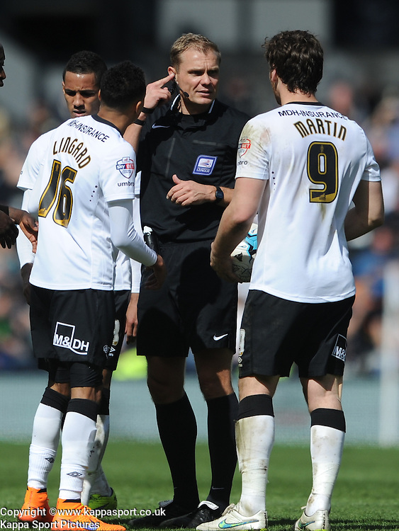 Referee Graham Scott,  Derby County, Derby County v Brentford, Sky Bet Championship, IPro Stadium, Saturday 11th April 2015. Score 1-1,  (Bent 92) (Pritchard 28)<br /> Att 30,050