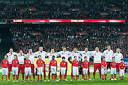 (L-R) Robert Lewandowski &amp; Waldemar Sobota &amp; Adrian Mierzejewski &amp; Kamil Glik &amp; Piotr Celeban &amp; Artur Jedrzejczyk &amp; Grzegorz Wojtkowiak &amp; Grzegorz Krychowiak &amp; Mariusz Lewandowski &amp; goalkeeper Wojciech Szczesny &amp; Jakub Blaszczykowski while national anthem before the 2014 World Cup Qualifying Group H football match between England and Poland at Wembley Stadium in London on October 15, 2013.<br /> <br /> Great Britain, London, October 15, 2013<br /> <br /> Picture also available in RAW (NEF) or TIFF format on special request.<br /> <br /> For editorial use only. Any commercial or promotional use requires permission.<br /> <br /> Mandatory credit:<br /> Photo by &copy; Adam Nurkiewicz / Mediasport