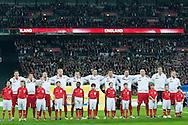 (L-R) Robert Lewandowski & Waldemar Sobota & Adrian Mierzejewski & Kamil Glik & Piotr Celeban & Artur Jedrzejczyk & Grzegorz Wojtkowiak & Grzegorz Krychowiak & Mariusz Lewandowski & goalkeeper Wojciech Szczesny & Jakub Blaszczykowski while national anthem before the 2014 World Cup Qualifying Group H football match between England and Poland at Wembley Stadium in London on October 15, 2013.<br /> <br /> Great Britain, London, October 15, 2013<br /> <br /> Picture also available in RAW (NEF) or TIFF format on special request.<br /> <br /> For editorial use only. Any commercial or promotional use requires permission.<br /> <br /> Mandatory credit:<br /> Photo by © Adam Nurkiewicz / Mediasport