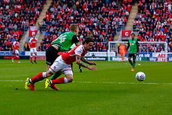 Ryan Yates of Scunthorpe United makes a challenge on Ryan Williams of Rotherham United - Mandatory by-line: Ryan Crockett/JMP - 16/05/2018 - FOOTBALL - Aesseal New York Stadium - Rotherham, England - Rotherham United v Scunthorpe United - Sky Bet League One Play-Off Semi Final