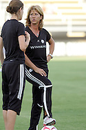 22 July 2009: Canada head coach Carolina Morace (ITA) (center) with assistant coach Andrea Neil (left). The United States Women's National Team defeated the Canada Women's National Team 1-0 at Blackbaud Stadium in Charleston, South Carolina in an international friendly soccer match.