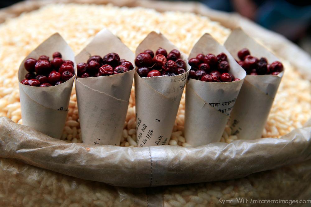 Asia, India, Darjeeling. Berries and snacks of the Himalayan region of Darjeeling.