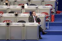 18 NOV 2003, BOCHUM/GERMANY:<br /> Gerhard Schroeder, SPD, Bundeskanzler, SPD Bundesparteitag, Ruhr-Congress-Zentrum<br /> IMAGE: 20031118-01-116<br /> KEYWORDS: Parteitag, party congress, SPD-Bundesparteitag, Gerhard Schröder, einsam