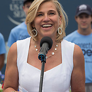 August 23, 2014, New Haven, CT:<br /> Tournament Director Anne Worcester speaks during a ceremony following the Singles Final on day nine of the 2014 Connecticut Open at the Yale University Tennis Center in New Haven, Connecticut Saturday, August 23, 2014.<br /> (Photo by Billie Weiss/Connecticut Open)
