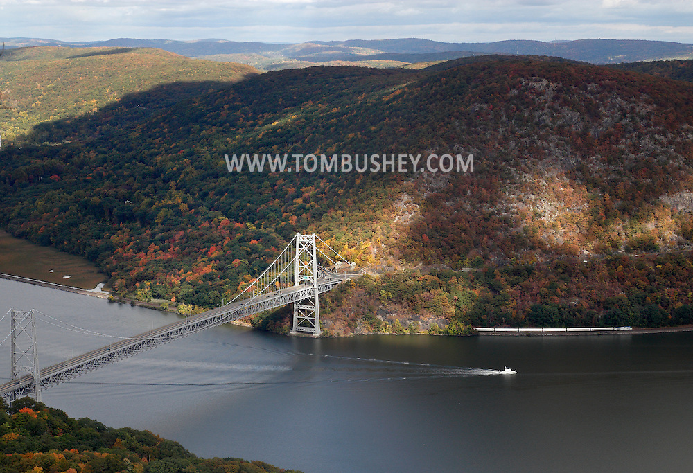 ear Mountain, New York - A view of the Bear Mountain Bridge, the Hudson River and the Hudson Highlands from Bear Mountain on Oct. 2, 2014.