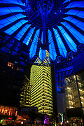 illuminated Sony Center at Potsdamer Platz, Berlin, Germany