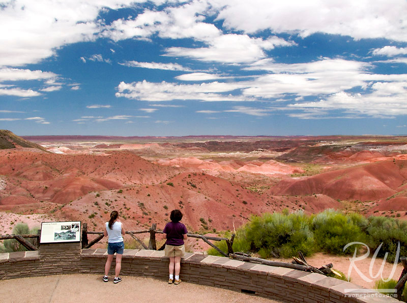 Tourists at Painted Desert Overlook, Petrified Forest National Park, Arizona