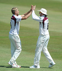 Alex Wakely of Northamptonshire celebrates with bowler Olly Stone as he catches out Benny Howell of Gloucestershire for 36  - Photo mandatory by-line: Dougie Allward/JMP - Mobile: 07966 386802 - 09/07/2015 - SPORT - Cricket - Cheltenham - Cheltenham College - LV=County Championship 2