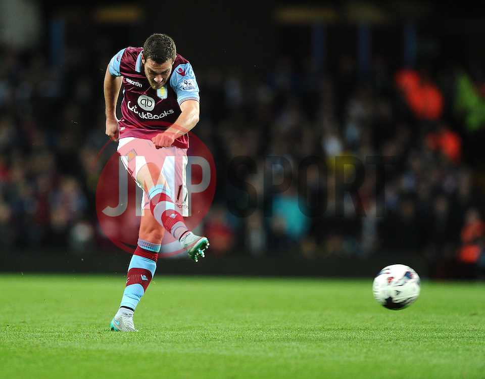 Jordan Veretout of Aston Villa Shoots  - Mandatory byline: Joe Meredith/JMP - 07966386802 - 25/08/2015 - FOOTBALL - Villa Park -Birmingham,England - Aston Villa v Notts County - Capital One Cup - Second Round