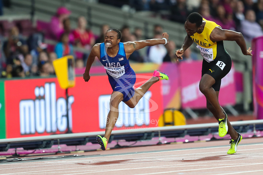 London, 2017 August 07. Aries Merritt, USA and Hansle Parchment, Jamaica, in the Men's 110m hurdles final on day four of the IAAF London 2017 world Championships at the London Stadium. © Paul Davey.