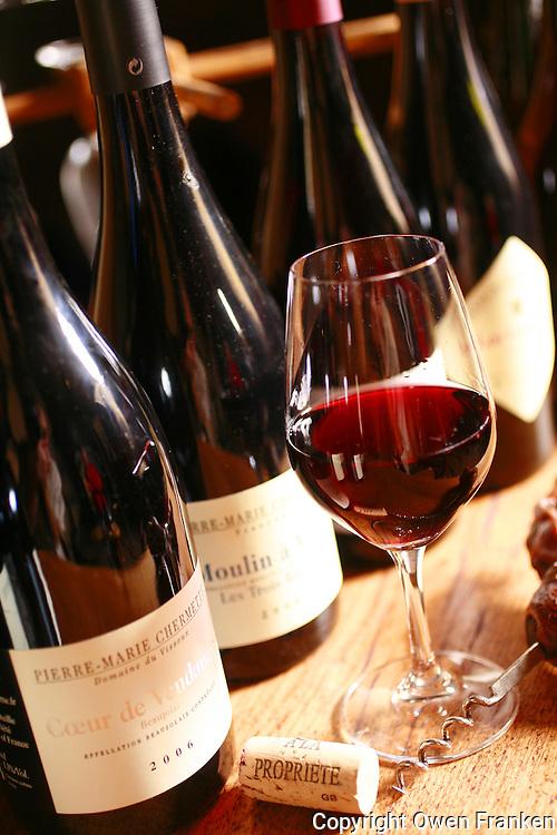 glass of Beaujolais at Domaine du Vissoux..Owner is Pierre-Marie Chermette