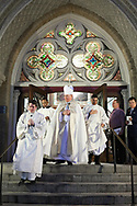 Bishop Edward J. Burns exits on Wednesday, Feb. 8, 2017 at Cathedral Guadalupe as he prepares to become the eighth bishop of the Catholic Diocese of Dallas. (Photo by Kevin Bartram)