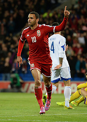 Wales Hal Robson Kanu celebrates - Photo mandatory by-line: Alex James/JMP - Mobile: 07966 386802 - 13/10/2014 - SPORT - Football - Cardiff - Cardiff City Stadium - Wales v Cyprus - EURO 2016 Qualifiers