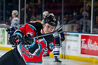 KELOWNA, BC - MARCH 11: Kyle Topping #24 of the Kelowna Rockets warms up with a shot on net against the Victoria Royals at Prospera Place on March 11, 2020 in Kelowna, Canada. (Photo by Marissa Baecker/Shoot the Breeze)