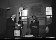 President Eamon de Valera and An Taoiseach Seán Lemass cast their votes in the General Election..07.04.1965
