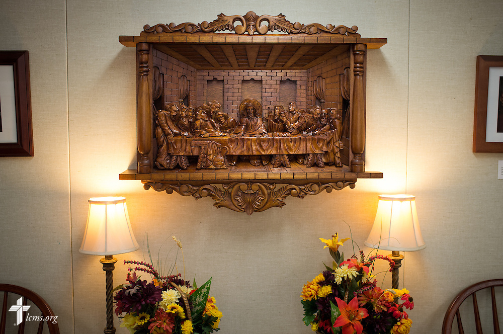 A wood carving of the Last Supper on Sunday, Nov. 22, 2015, at Salem Lutheran Church in Springdale, Ark. LCMS Communications/Erik M. Lunsford