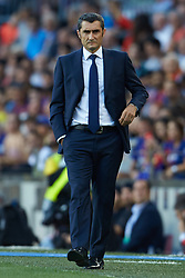 September 18, 2018 - Barcelona, Barcelona, Spain - Ernesto Valverde head coach of FC Barcelona during the UEFA Champions League group B match between FC Barcelona and PSV Eindhoven at Camp Nou on September 18, 2018 in Barcelona, Spain  (Credit Image: © Sergio Lopez/NurPhoto/ZUMA Press)