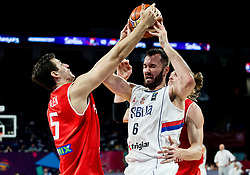 Milan Macvan of Serbia between Rosco Allen of Hungary and Akos Keller of Hungary during basketball match between National Teams of Serbia and Hungary at Day 11 in Round of 16 of the FIBA EuroBasket 2017 at Sinan Erdem Dome in Istanbul, Turkey on September 10, 2017. Photo by Vid Ponikvar / Sportida