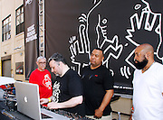 """David DePino, François K and Joey Llanos appear during the Paradise Garage Party """"Larry Levan Day"""" event on King Street in New York City, New York on May 11, 2014."""