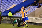 Shaun Whalley celebrates scoring 1-0  during the Sky Bet League 1 match between Shrewsbury Town and Rochdale at Greenhous Meadow, Shrewsbury, England on 1 March 2016. Photo by Daniel Youngs.