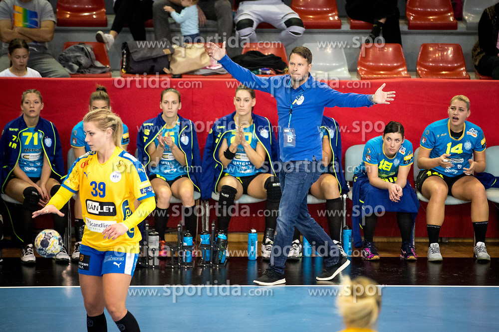 Uros Bregar, head coach of RK Krim Mercator during handball match between RK Krim Mercator and NFH - Nykobing Falster in Group Matches of Women's EHF Champions League 2017/18, on October 14, 2017 in Arena Kodeljevo, Ljubljana, Slovenia.