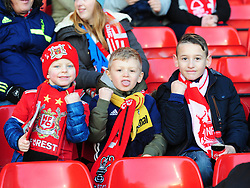 NOTTINGHAM FOREST FANS CELEBRATE AFTER FORESTS FIRST GOAL,  Nottingham Forest v Arsenal Emirates FA Cup Third Round, City Ground Sunday 7th January 2018