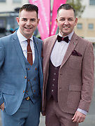Repro free: Mike McCarthy and Paul Carroll funky fashion frolics at the g Hotel Best dressed competition at the Galway Races. Photo:Andrew Downes.