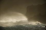 Wind blown waves and cliffs, Pfeiffer Beach, Pfeiffer Big Sur State Park, California
