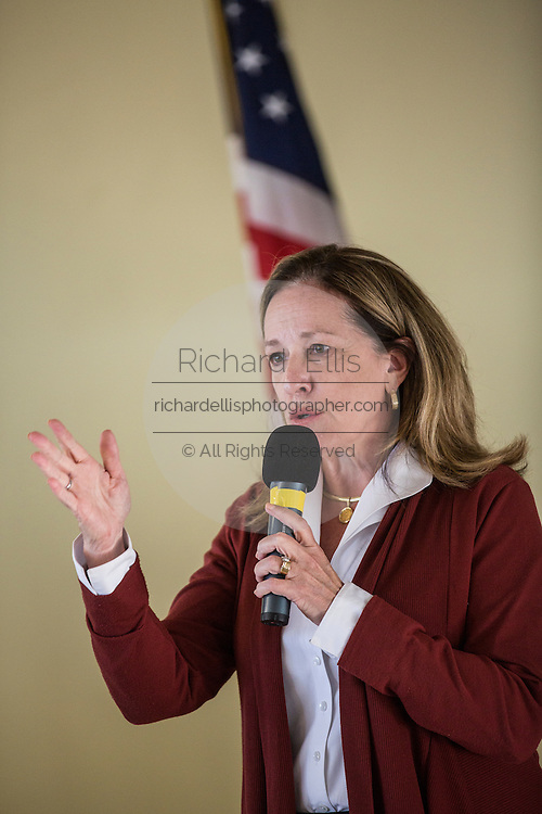 Democrat Elizabeth Colbert Busch talks to supporters during the Charleston Area Chamber of Commerce's Pork and Politics on April 30, 2013 in Charleston, South Carolina.