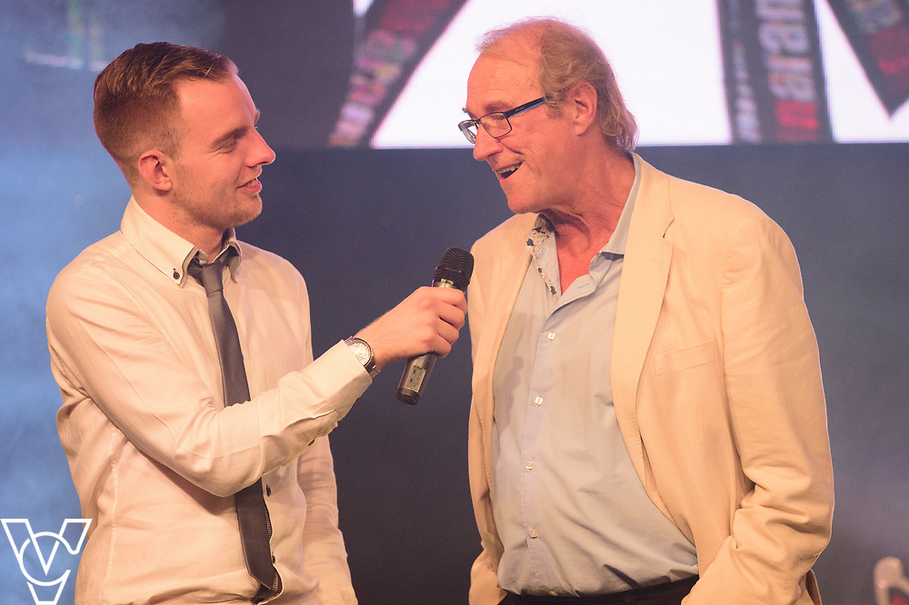 Lincoln City Chairman Bob Dorrian being interviewed by Rob Makepeace<br /> <br /> Lincoln City Football Club's 2016/17 End of Season Awards night - Champions Seasons Awards Dinner - held at the Lincolnshire Showground.<br /> <br /> Picture: Andrew Vaughan for Lincoln City Football Club<br /> Date: May 20, 2017 Champions Seasons Awards Dinner:
