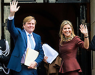 8-12-2016 AMSTERDAM - King Willem Alexander and Queen Maxima, Patron of the Foundation, has, Thursday December 8, 2016 presented at the Royal Palace in Amsterdam, the Erasmus Prize from the British writer A.S. Byatt. The prize this year has the theme 'Life Writing' includes a hot topic within the literature, biographies, autobiographies and historical novels. COPYRIGHT ROBIN UTRECHT<br /> <br /> 8-12-2016 AMSTERDAM - Koning Willem Alexander en koningin Maxima en prinses beatrix  , Regent van de Stichting Praemium Erasmianum, reikt donderdagmiddag 8 december 2016 in het Koninklijk Paleis Amsterdam de Erasmusprijs uit aan de Britse schrijfster A.S. Byatt. De Erasmusprijs heeft dit jaar als thema &lsquo;Life Writing&rsquo;, een actueel onderwerp binnen de literatuur dat biografie&euml;n, autobiografie&euml;n en historische romans omvat. COPYRIGHT ROBIN UTRECHT