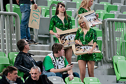 Cheerleaders Dragon Ladies selling their calendar prior to the basketball match between KK Union Olimpija and Unics Kazan (RUS) of 10th Round in Group D of Regular season of Euroleague 2011/2012 on December 21, 2011, in Arena Stozice, Ljubljana, Slovenia. (Photo by Matic Klansek Velej / Sportida)