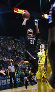 Stanford Cardinal guard DiJonai Carrington (21)drives to the basket against Oregon Ducks guard Sabrina Ionescu (20) in the first half of championship game of the Pac-12 Conference women's basketball tournament Sunday, Mar. 10, 2019 in Las Vegas.  Stanford defeated Oregon 64-57. (Gerome Wright/Image of Sport)