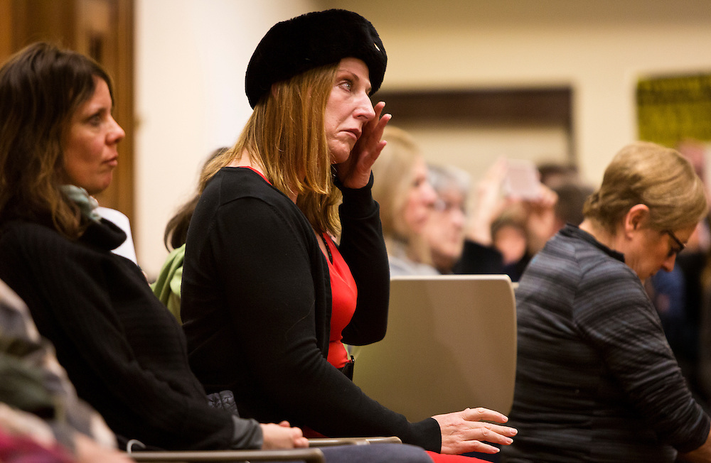 MADISON, WI – DECEMBER 19: An audience member wipes away a tear as the Wisconsin electors cast their ballots for Donald J. Trump at the Wisconsin State Capitol on Monday, December 19, 2016.