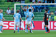 Melbourne City midfielder Riley McGree (8) celebrates as they score the opening goal at the Hyundai A-League Round 6 soccer match between Melbourne City FC and Newcastle Jets at AAMI Park in Melbourne.