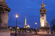 France. Paris. Pont Alexandre III bridge and eiffel tower on Seine River