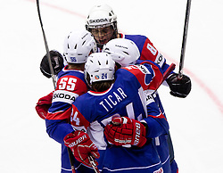 Ziga Jeglic of Slovenia and other players celebrate during ice-hockey match between Slovenia and Latvia of Group G in Relegation Round of IIHF 2011 World Championship Slovakia, on May 5, 2011 in Orange Arena, Bratislava, Slovakia. (Photo By Vid Ponikvar / Sportida.com)