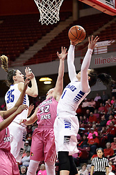 05 February 2016: Ashley Taia gets a rebound also desired by Kelsey Dirks and Taylor Stewart(32). Illinois State University Women's Redbird Basketball team hosted the Sycamores of Indiana State for a Play4 Kay game at Redbird Arena in Normal Illinois.