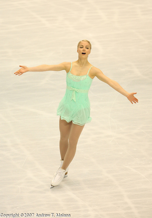 TOKYO - MARCH 24: Kiira Korpi of Finland performs during the Women's Free Skating program at the World Figure Skating Championships at the Tokyo Gymnasium on March 24, 2007 in Tokyo, Japan. (Photo by Andrew T. Malana)