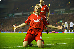LIVERPOOL, ENGLAND - Wednesday, January 20, 2010: Liverpool's Dirk Kuyt celebrates after scoring the opening goal against and Tottenham Hotspurs during the Premiership match at Anfield. (Photo by: David Rawcliffe/Propaganda)