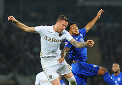 Pontus Jansson of Leeds United competes with Nathaniel Mendez-Laing of Cardiff City for the highball -Mandatory by-line: Nizaam Jones/JMP - 26/09/2017 -  FOOTBALL - Cardiff City Stadium - Cardiff,Wales -  Cardiff City v Leeds United - Sky Bet Championship